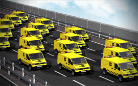 3D Render of Fleeet of AA Vans Driving Along Motorway