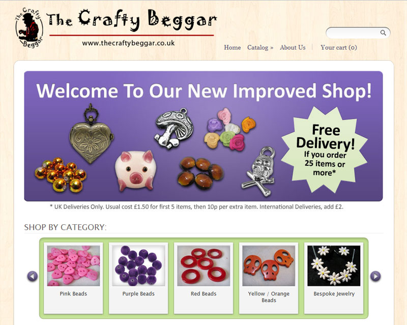 The Crafty Beggar Website on Shopify